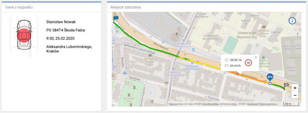 podgląd prędkości chwilowej samochodu na miejscu zdarzenia - zrzut ekranu
